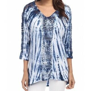 XCVI NEW Blue Women's XS Radial Bamboo Wash Slub Jersey Blouse