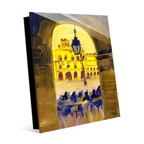 Kathy Ireland Hotel Catalonia Plaza Mayor Salamanca in Yellow on Acrylic Wall Art Print