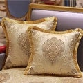 """Luxury Gold Verona Pillow Embellished With Trim 20""""X20"""" - Thumbnail 0"""