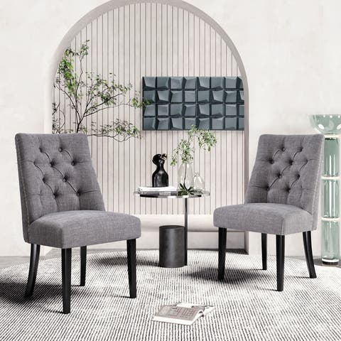 AOOLIVE 2PCS Tufted Upholstered Armless Kitchen Dining Chairs, Grey