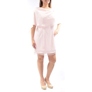 Womens Pink Sleeveless Mini Sheath Wedding Dress Size: 14