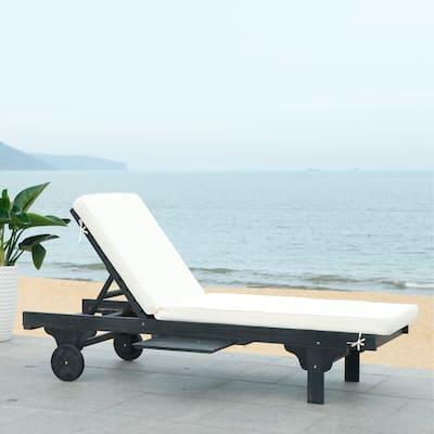 SAFAVIEH Outdoor Living Newport Black/ White Cart-Wheel Adjustable Chaise Lounge Chair