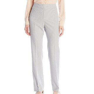 Kasper NEW White Women's Size 4 Seersucker Flat Front Dress Pants