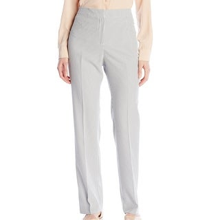 Kasper NEW White Women's Size 6 Seersucker Flat Front Dress Pants