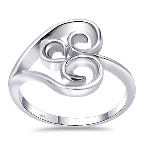 Stylish Plain Carved Sterling Silver Wedding Ring By Orchid Jewelry