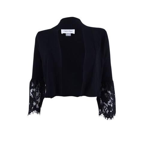 Calvin Klein Women's Lace-Bell-Sleeve Shrug - Black