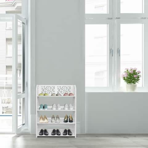 White 4-tier Shoe Rack Organizer Storage Shelf
