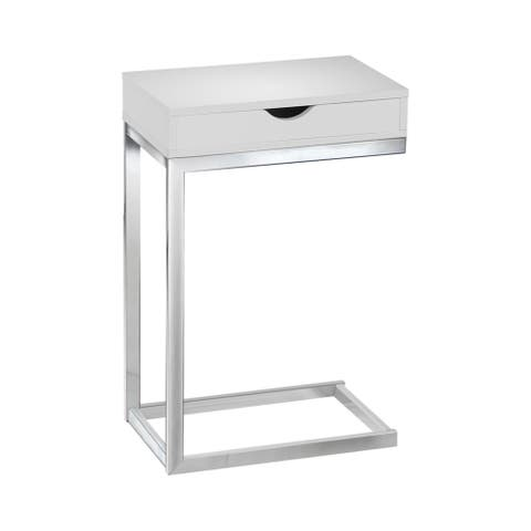 Offex Accent Table - Chrome Metal Glossy White With A Drawer