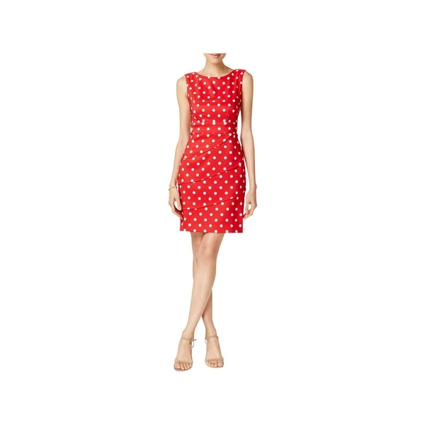 Connected Apparel Womens Casual Dress Polka Dot Ruffle