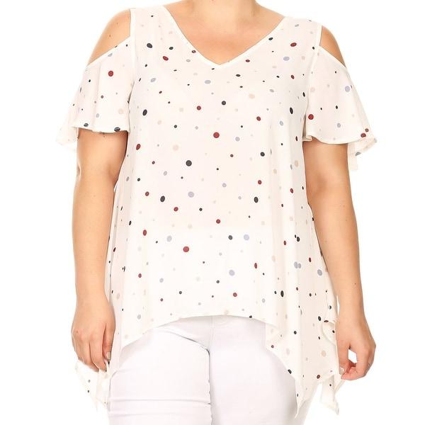 05c7d4419b960 Women Plus Size Polka Dot Cold Shoulder Tunic Knit Top Tee Shirt White