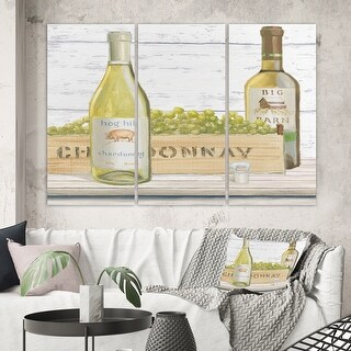 Designart 'White Chardonnay Wine Bottles' Food and Beverage Canvas Artwork
