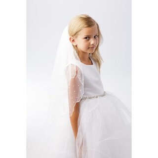 Girls Ivory Scalloped Chord Edging Pearl Beaded Communion Flower Girl Veil