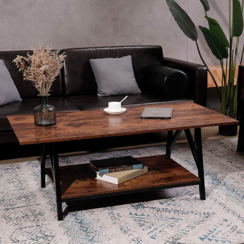 CO-Z Carbon Loft Jerusha Industrial Coffee Table with Storage Shelf