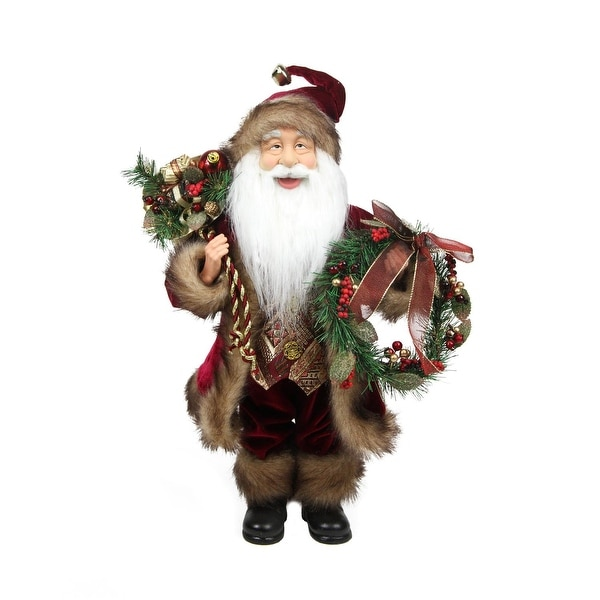 """18"""" Country Cabin Santa Claus in Burgundy Holding a Wreath and Gift Bag Christmas Figure - RED"""