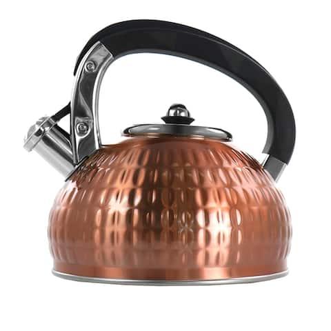 MegaChef 3 Liter Stovetop Whistling Kettle in Copper