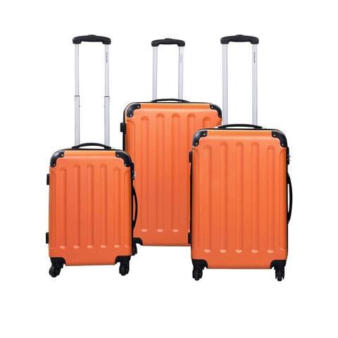 GLOBALWAY 3 Pcs Luggage Travel Set Bag ABS Trolley Suitcase Orange