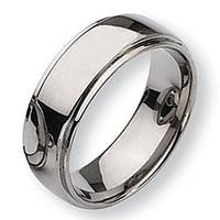 Chisel Ridged Edge Polished Titanium Ring (8.0 mm)