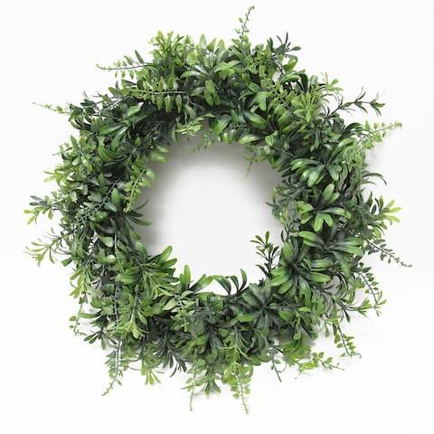 Flowering Fern Mix Leaf Wreath 18in