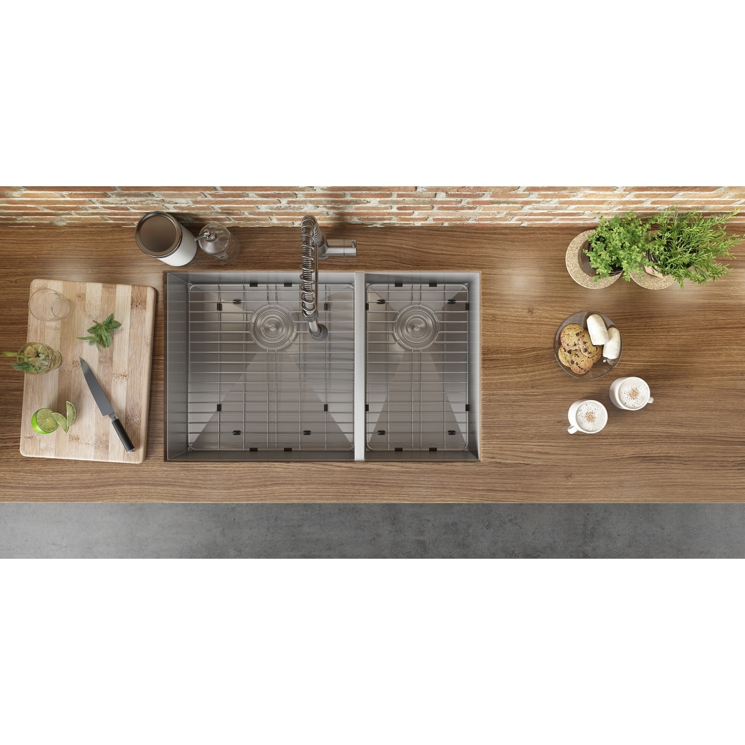 Ruvati 29 Inch Undermount 60 40 Double Bowl Zero Radius 16 Gauge Stainless Steel Kitchen Sink Rvh7200 Overstock 6990919