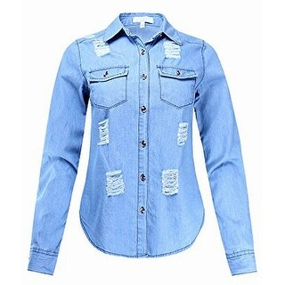 TopShop Womens Single Pocket Distressed Denim Jacket