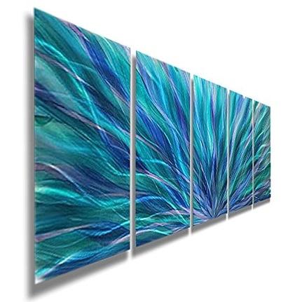 Statements2000 Blue Contemporary Metal Wall Art Painting by Jon Allen - Blue Aurora