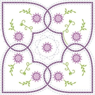 """Stamped Quilt Blocks 18""""X18"""" 6/Pkg-Floral & Hearts With Quilting Marks"""