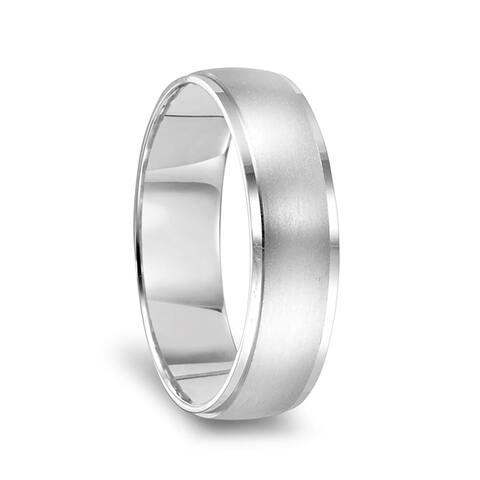 14k White Gold Brushed Center Women's Wedding Ring with Polished Beveled Edges - 4mm