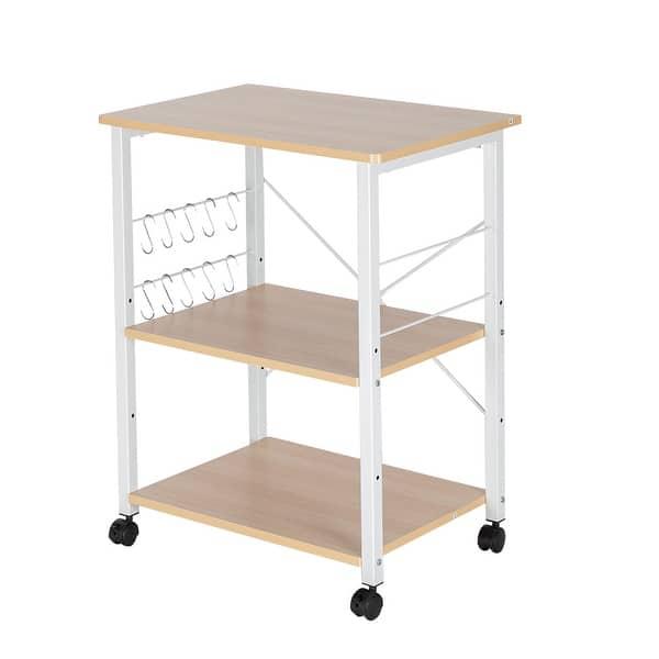 SSLine Kitchen Bakers Rack,3-Tier Kitchen Microwave Cart Utility Storage Shelf Microwave Stand,Kitchen Utility Cart Vintage Rolling Bakers Rack with 5 Hooks Organizer Workstation for Kitchen,Brown