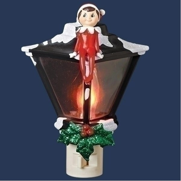 "6"" Vibrantly Colored Elf Sitting Atop a Lamp Post Holiday Night Light - RED"