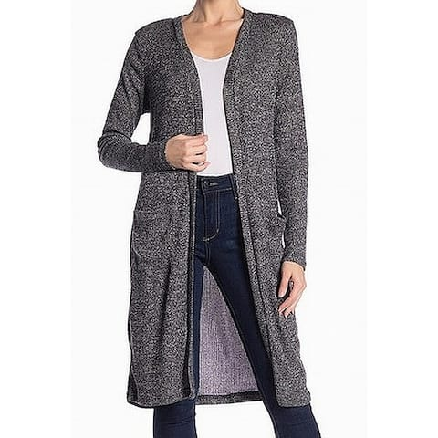 373640028 Cotton Emporium Gray Womens Size Large L Open Front Ribbed Cardigan