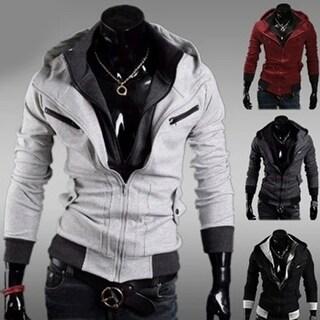 Men Fashion Slim Fit Double Zipper Hooded Sweatshirt Casual Long Sleeve Outwear