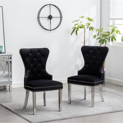 Montura Contemporary Tufted Velvet Chair with Nailhead Trim, Set of 2