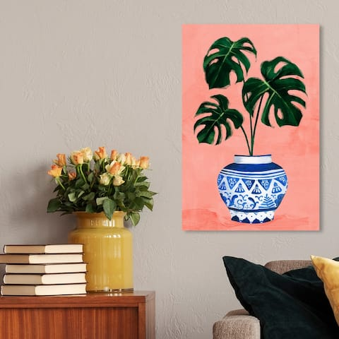 Oliver Gal 'Chinoiserie Monstera' Floral and Botanical Wall Art Canvas Print Botanicals - Pink, Blue