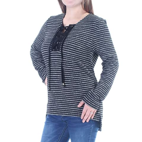SANCTUARY Womens Black Tie Striped Long Sleeve V Neck Top Size: L