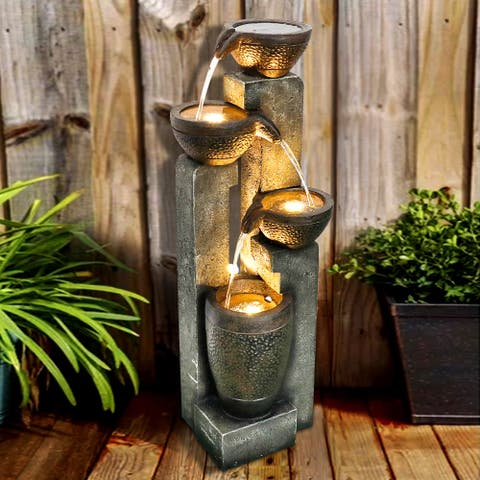 40-inch H Outdoor Faux Stone Water Fountain Garden Waterfall w/ Lights