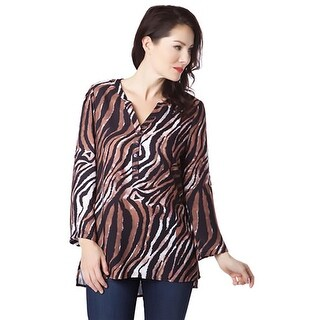 Sienna Rose Womens Blouse Animal Print V-Neck