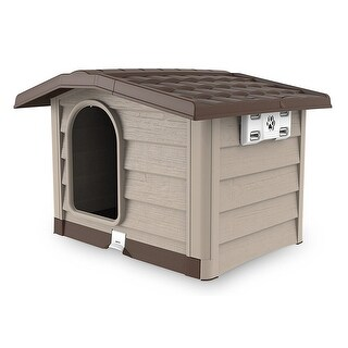Bama Pet Bungalow Dog House with Removable Base, Beige, 35x29.5 Inches