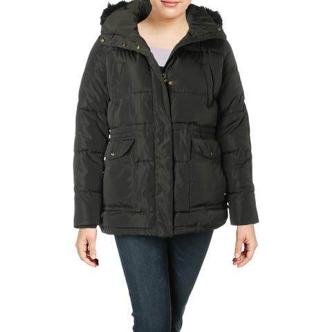 Lauren Ralph Lauren Womens Puffer Coat Faux Fur Trim Hooded - Dark Moss