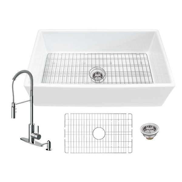 Soleil All-In-One White Fireclay Farmhouse Apron Front Single Bowl Kitchen Sink with Pull Down Kitchen Faucet. Opens flyout.