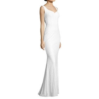 Badgley Mischka Sequined Cowl Back Evening Gown Dress White
