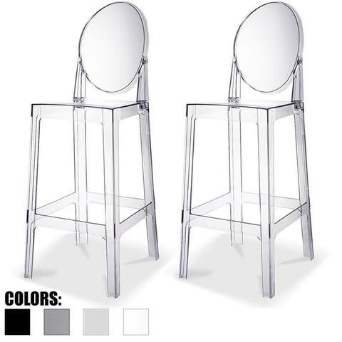 """Set of 2 Clear 30"""" Seat Height High Barstool Modern Plastic Chair Side Bar Counter Stool Accent Armless Kitchen"""