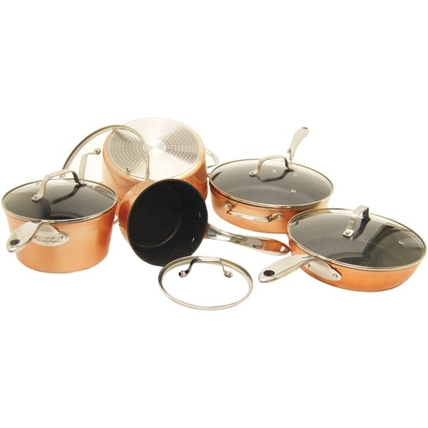 The Rock By Starfrit 030910-001-0000 The Rock(Tm) By Starfrit 10-Piece Copper Cookware Set