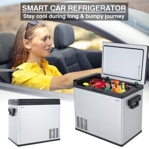 ZOKOP 1.7CU.FT Compressor Touch Screen Stainless Steel Car Refrigerator