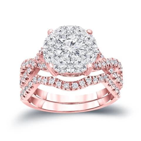 Auriya 1 1/5ctw Round Halo Diamond Engagement Ring 14k Gold