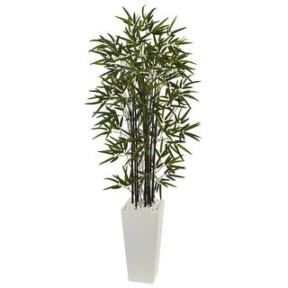 Nearly Natural 5.5' Black Bamboo Artificial Tree in White Tower Planter