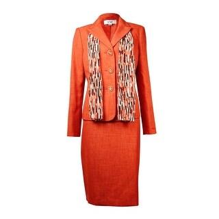Le Suit Women's Cote D'Azur Woven Skirt Suit Set