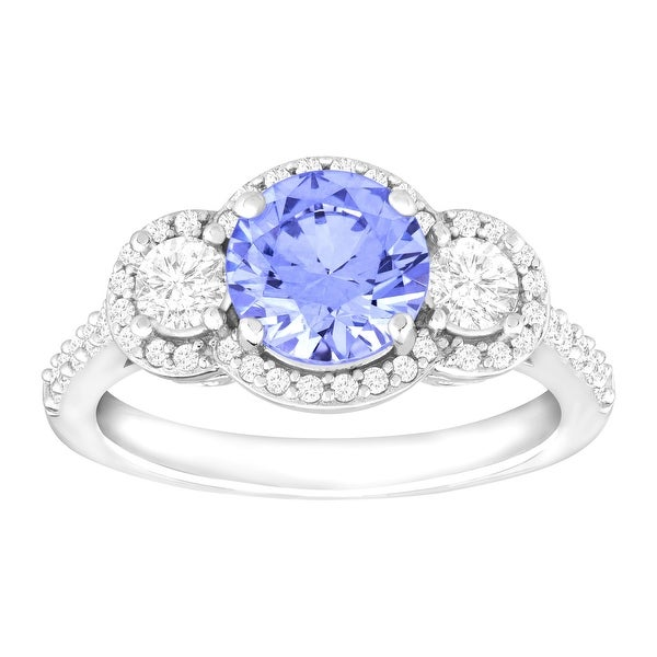Ring with Fancy Blue & White Swarovski Zirconia in Sterling Silver