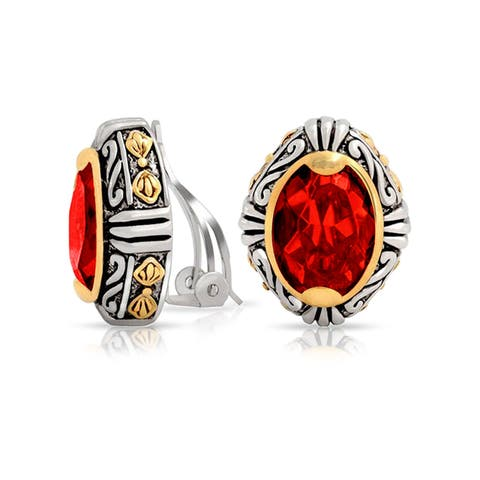 Bali Style Red Crystal Oval Two Tone Clip On Earrings For Women Imitation Ruby Non Pierced Silver Gold Plate Alloy