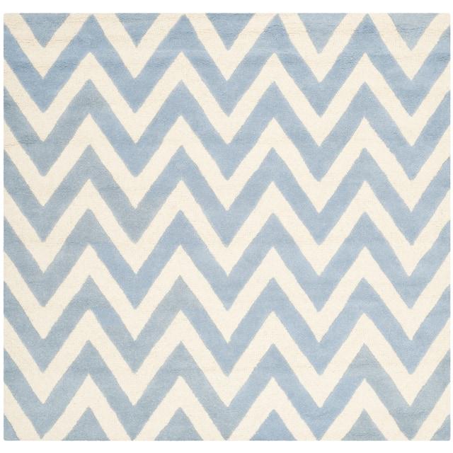 SAFAVIEH Handmade Cambridge Rinda Modern Moroccan Wool Rug - 6' x 6' Square - Light Blue/Ivory
