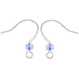 Silver Plated Earring Hooks With Crystal - Light Sapphire Blue Glass Crystal (10